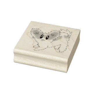 Cute Scruffy Papillon Puppy Dog Rubber Stamp
