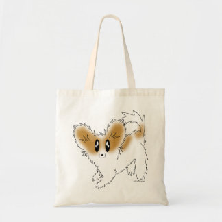 Cute Scruffy Papillon Puppy Dog Tote Bag