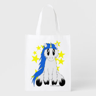 Cute Scruffy Unicorn Reusable Bag (Blue)