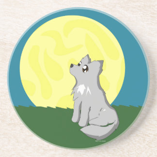 Cute Scruffy Wolf with Moon Drink Coasters