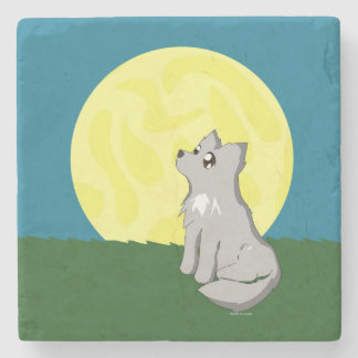 Cute Scruffy Wolf with Moon Stone Beverage Coaster