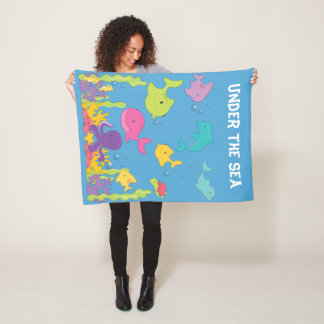 Cute Sea Animals Fleece Blanket