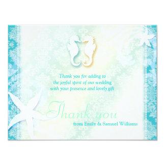 Cute Sea Horse Couple Wedding Thank You 11 Cm X 14 Cm Invitation Card