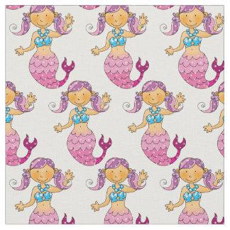 cute sea mermaid princess girl (pink hair) fabric