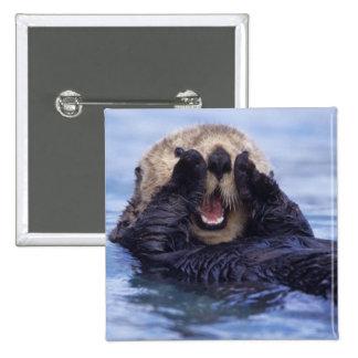 Cute Sea Otter | Alaska, USA 15 Cm Square Badge