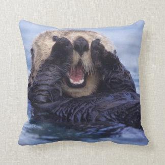 Cute Sea Otter   Alaska, USA Throw Pillow