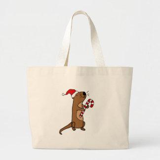 Cute Sea Otter in Santa Hat Christmas Cartoon Large Tote Bag
