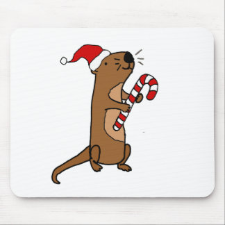 Cute Sea Otter in Santa Hat Christmas Cartoon Mouse Pad