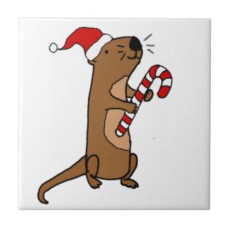 Cute Sea Otter in Santa Hat Christmas Cartoon Tile