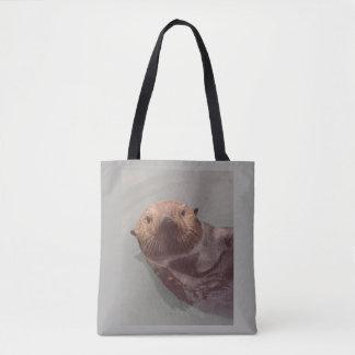 Cute Sea Otter Ocean View Swimming Designed Tote Bag