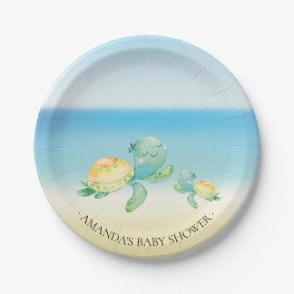"Cute Sea Turtle Baby Shower 7"" Plate"