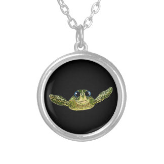 Cute sea turtle silver plated necklace