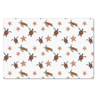 Cute Sea Turtles and Star Fish Patterned Tissue Paper