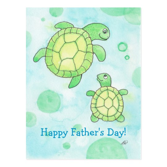 Cute Sea Turtles Father's Day Postcard