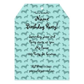 "Cute seafoam green dachshunds 5"" x 7"" invitation card"