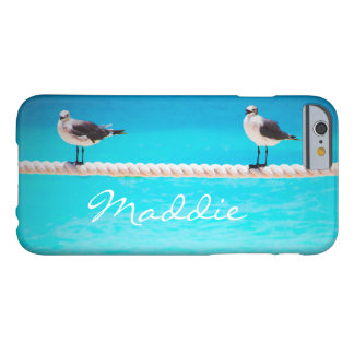 Cute seagull birds at blue ocean photo custom name barely there iPhone 6 case