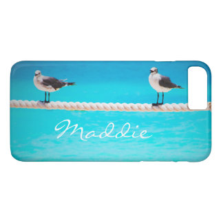 Cute seagull birds at blue ocean photo custom name iPhone 8 plus/7 plus case