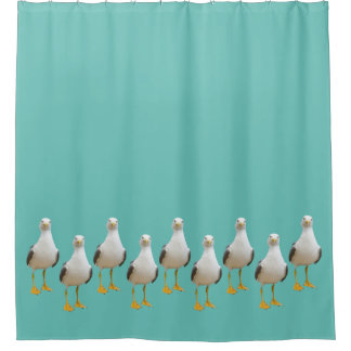 Cute Seagulls on Teal Shower Curtain