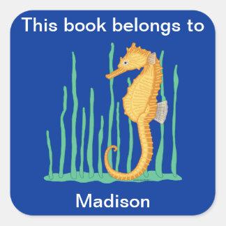 Cute Seahorse Bookplate Square Sticker