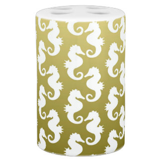 Cute Seahorse Pattern in Greenish Yellow Toothbrush Holder