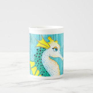 Cute Seahorse Teal Rustic Tea Cup