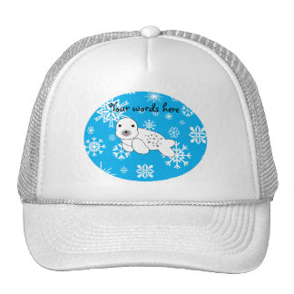 Cute seal blue and white snowflakes trucker hat