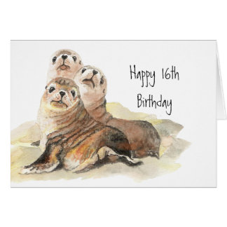 Cute Seals 16th Birthday Watercolor Animals Card