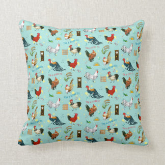 Cute seamless roosters pattern cartoon cushion