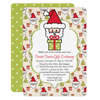 Cute Secret Santa Christmas Party 13 Cm X 18 Cm Invitation Card