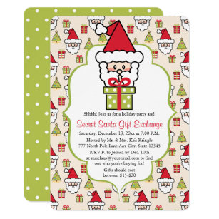 Cute Secret Santa Christmas Party Invitation