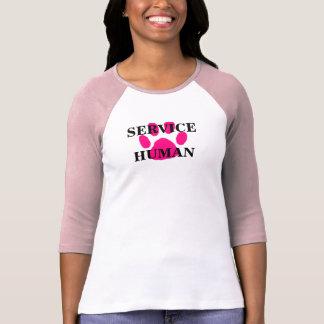 Cute SERVICE HUMAN Pink Paw Print 3/4 Sleeve Tee