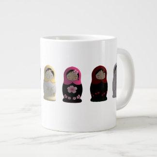 Cute Set of Village Women Matryoshka Nesting Dolls Large Coffee Mug