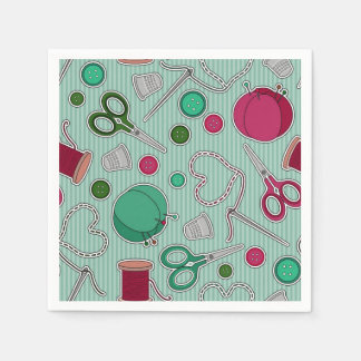 Cute Sewing Theme Napkins Green Paper Serviettes