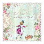 Cute Shabby Chic Alice in Wonderland Birthday 13 Cm X 13 Cm Square Invitation Card