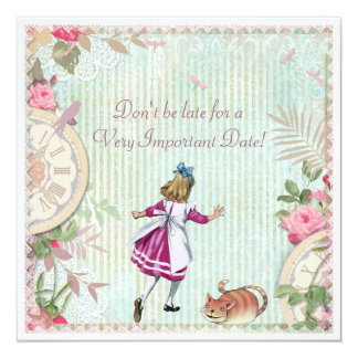 Cute Shabby Chic Alice in Wonderland Birthday 13 Cm X 13 Cm Square Invitation Card