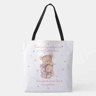 Cute Shabby Watercolor Teddy Bear Tote Bag