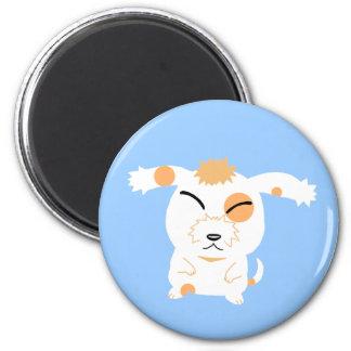 cute shaggy dog 6 cm round magnet