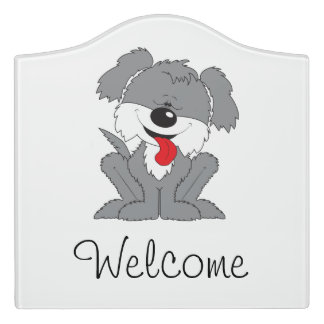 Cute Shaggy Puppy Cartoon Door Sign