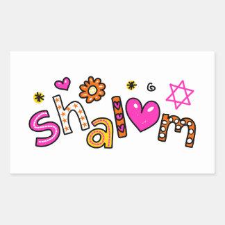 Cute Shalom Greeting Text Expression Rectangular Sticker