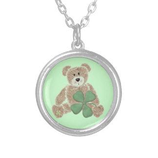 Cute shamrock teddy bear Irish heritage necklace