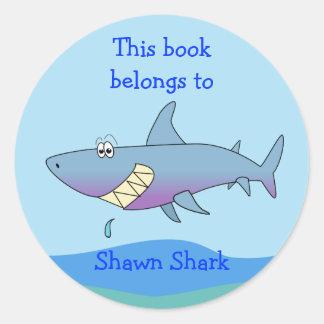 Cute Shark Custom Bookplate Template for Kids Round Sticker