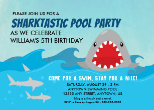 shark party invitations announcements zazzle au