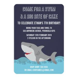 Cute Shark Theme Pool Party Boys Birthday Invite