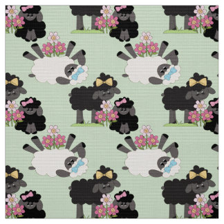 Cute Sheep and Flowers YOU Change Background Color Fabric