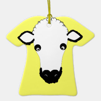 Cute Sheep Face add text Christmas Ornaments