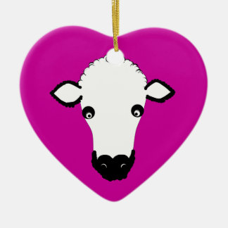 Cute Sheep Face add text Christmas Tree Ornament