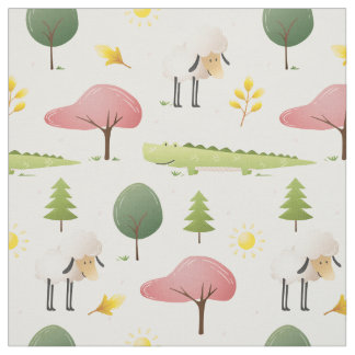 Cute Sheep green alligator and trees kids  nursery Fabric