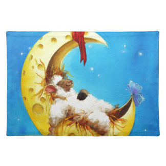 Cute Sheep in the Moon Sheep Incognito Nursery Placemat