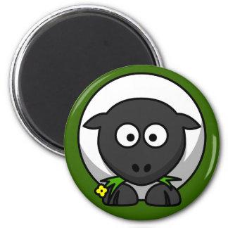 Cute Sheep On Green Grass Fridge Magnet
