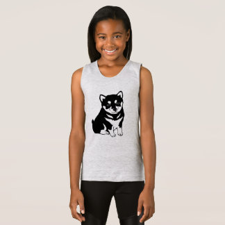 Cute Shiba Inu Puppy Dog Silhouette Girls Tank Top